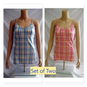 So Set of 2 Plaid Stretch Tank Cami Tops JRs Large